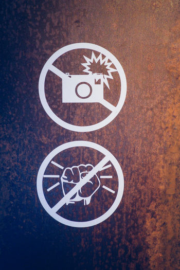 No People Sign Circle Directly Above Geometric Shape Shape Close-up Indoors  Pattern Communication Design Brown Creativity High Angle View Representation Art And Craft Studio Shot White Color Symbol No Pictures Please Photography Knocking Logo Icon Icons, Sign