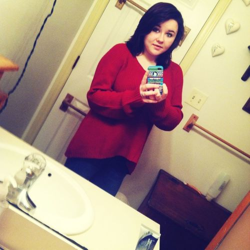 Good morning (: big red sweater and some jeans.