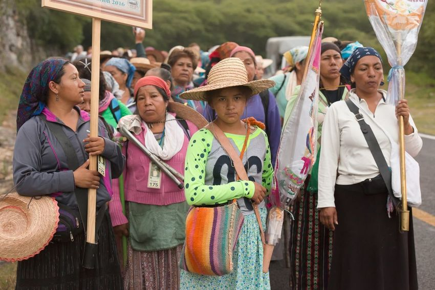 Determined to reach their destination 300 miles away and 14 days of walking to the Basilica of Guadalupe in Mexico City. Pilgrimage Mexico Documentary Querétaro Sierra Gorda Queretana Women Group Of People Adult Traditional Clothing Celebration Real People Day Togetherness People