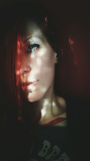 One Person Young Adult One Woman Only Portrait Close-up Beautiful Woman Human Body Part Sunlight, Shades And Shadows Indoors  Human Eye Emotions In A Picture Emotion Red Hair Green Eyes