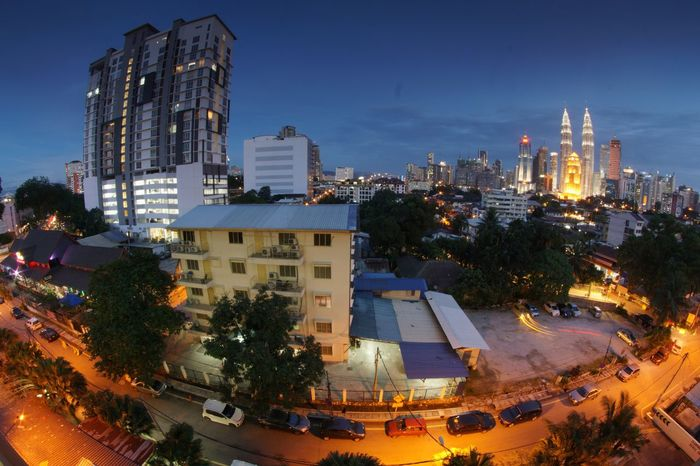 KLCC view from Kampung Baru City Architecture Illuminated Building Exterior High Angle View Built Structure Tree Night Modern Skyscraper Cityscape Outdoors Urban Skyline No People Sky Kuala Lumpur City Of Lights Tranquility Malaysia Kampung Baru, Kuala Lumpur Klcc KLCC Twin Towers Petronas Twin Towers