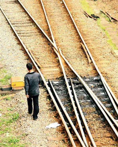 Railroad tracks on railroad track
