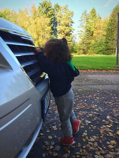 Curiosity Mechanic Rear View Tree Transportation Childhood Casual Clothing Person Day Outdoors Park Footpath Minivan Autumn Collection Autumn Colors Autumn🍁🍁🍁 Autumn Leaves Autumn Innocence