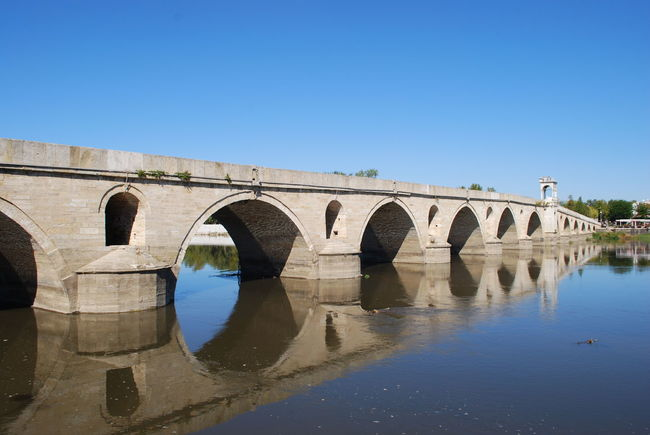 Edirne Meriç Arch Architecture Blue Bridge - Man Made Structure Built Structure Clear Sky Connection Day Mericnehri Nature No People Outdoors Reflection River Sky Water