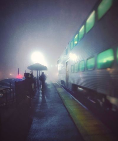 Back at it.... Much Needed Distraction Work Good For The Soul Railroad Station Railroad Station Platform Illuminated Early Morning Fog EyeEm Eyeemphotography EyeEm Gallery Go To My City Chicago ❤