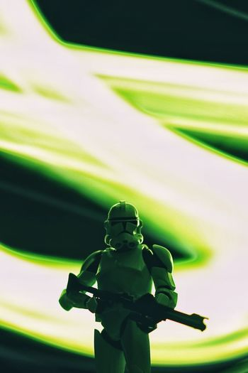 Star Wars Clonetrooper Clone Trooper Star - Space Hobby Toys Scale Model Scale Model Photography Human Representation Green Color Representation Art And Craft Sculpture No People Statue Male Likeness Close-up Creativity Outdoors Craft Selective Focus Focus On Foreground Light Painting