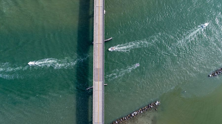 Aerial view of bridge over bay