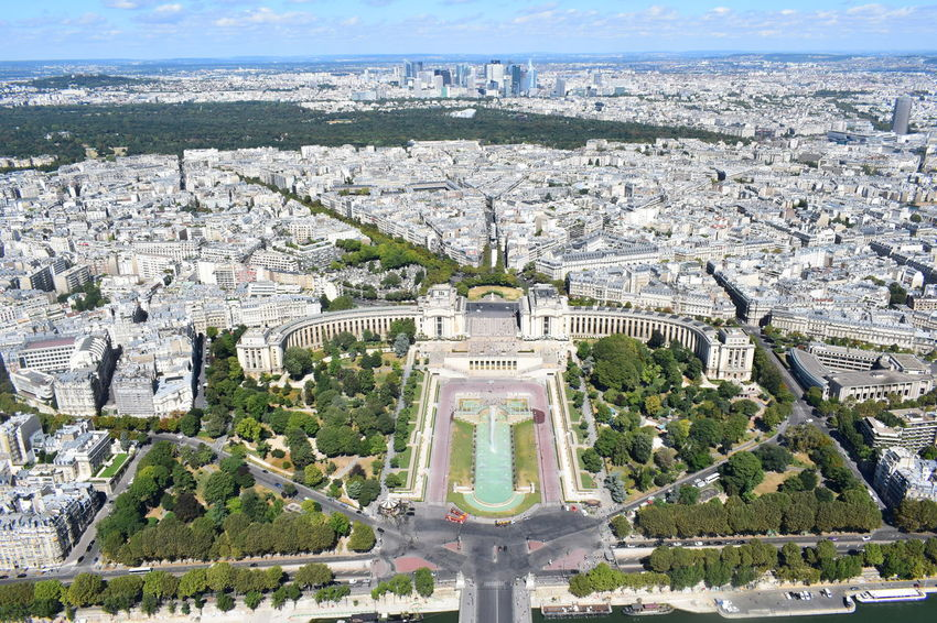 Paris from the Eiffel Tower Aerial View Architecture Building Building Exterior Built Structure City Cityscape Day High Angle View Nature No People Outdoors Plant Sky The Past Tourism Travel Travel Destinations Tree