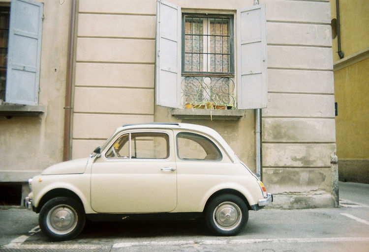 Vintage Vintage Cars Fiat Italy Colors Side View Old Car Outdoors Building Exterior Architecture Day