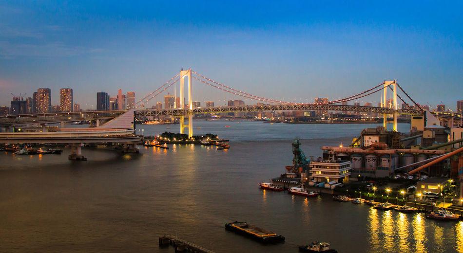 View Of Tokyo Rainbow Bridge At Sunset