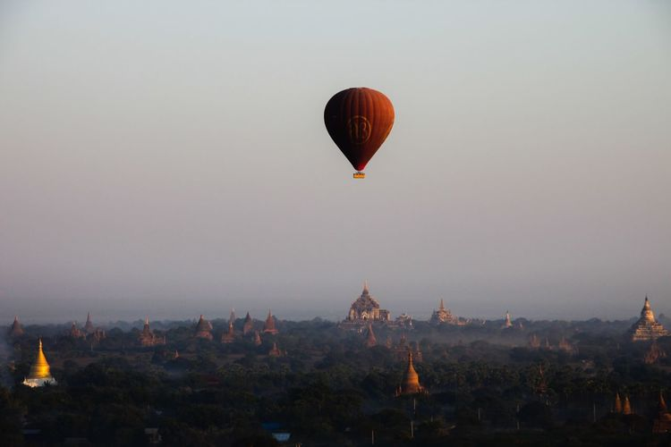 Flying High Temples Temples Of Bagan Architecture Bagan Flying Hot Air Balloon Mid-air Myanmar Nature No People Outdoors Sky Sunrise Travel Destinations