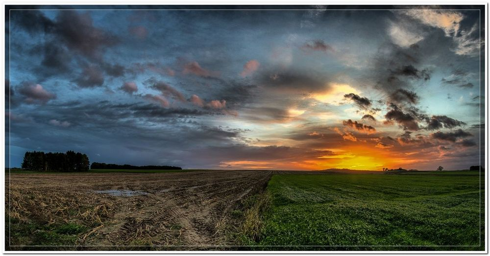 Leefdal Beauty In Nature Cloud - Sky Field Horizon Over Land Landscape Rural Scene Sky Sunset