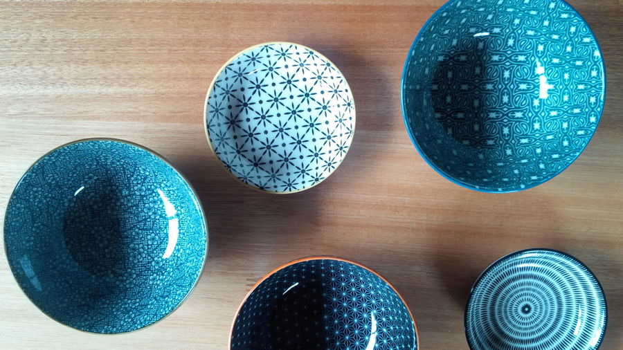 Bowls Or Balls Floating Bowls Ceramic And Wood Blue Pottery Composition Decoration Nature Materials Manufactured Materials Ceramic Art Mixtured Designs