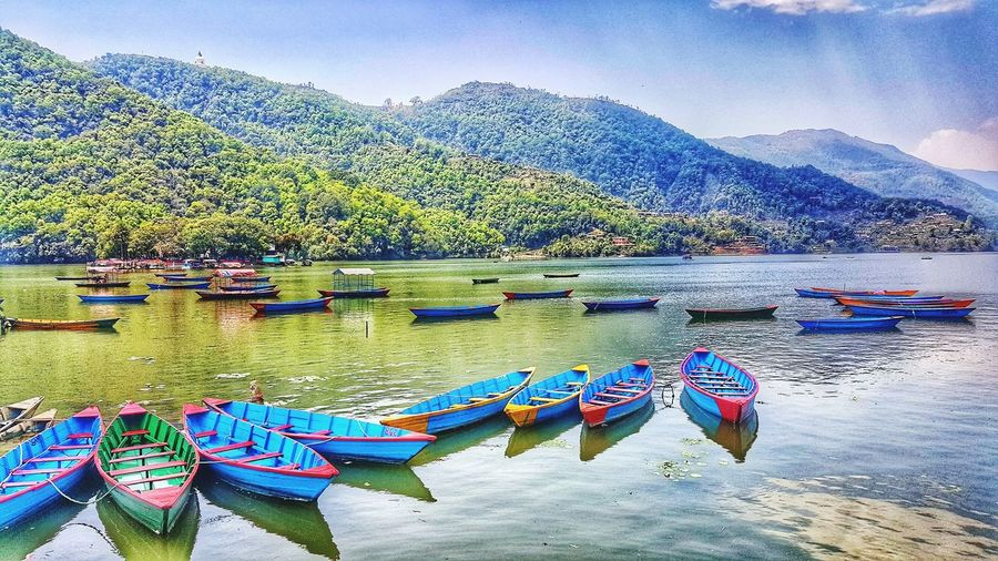 Phewa lake, Pokhara, Nepal Travelphotography Traveldiaries Worldcapture Worldpics Tourist Solotraveler Backpacker Global Passport Seetheworld  Iwanttotravel Summer 2017 HostelLife WorldPeacePagoda Pokhara Phewalake Nepal Travelasia Water Lake Nature Outdoors Day Beauty In Nature Multi Colored EyeEmNewHere