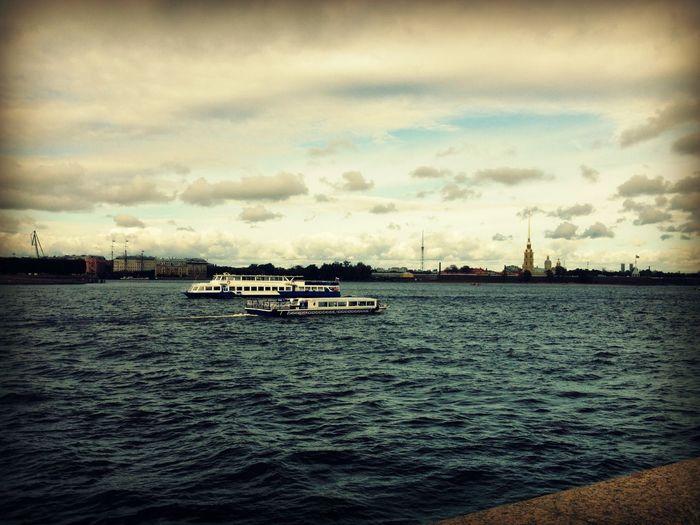 image by @nicoleulyanova@Saint-Petersburg Boat Cloads Journey Petropavlovskayafortress River Sky Water