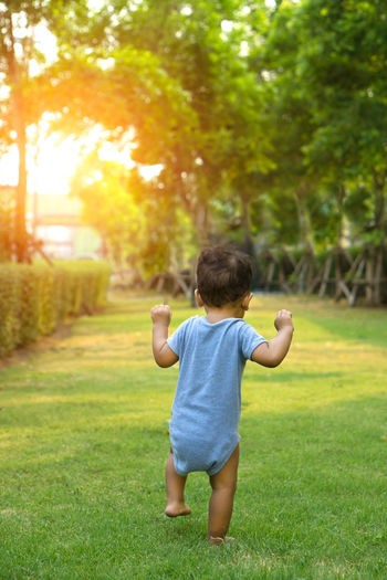 Asian  Baby First Time Walk Arms Raised Asian Baby  Boy Boys Casual Clothing Child Childhood Field Full Length Grass Human Arm Innocence Leisure Activity Lifestyles Nature One Person Outdoors Plant Rear View Toodler Tree