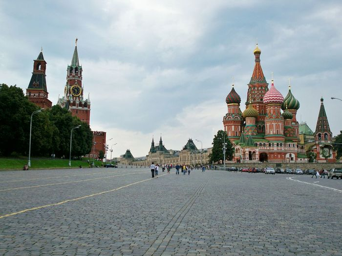 Red Square St. Basil's Cathedral Spasskaya Tower Moscow Russia