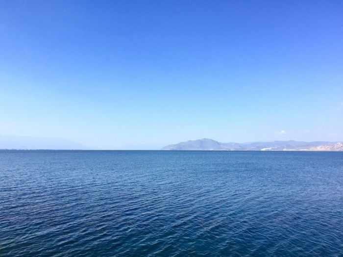 Water Blue Sky Beauty In Nature Scenics - Nature Sea Tranquil Scene Tranquility Copy Space Clear Sky Waterfront Nature Day Mountain Idyllic No People Non-urban Scene Rippled Outdoors Salt Flat