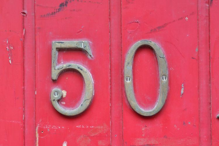 50 Number Fifty Architecture Backgrounds Close-up Closed Communication Day Design Door Entrance Fifty Full Frame Green Color Metal No People Number 5 Outdoors Paint Pattern Protection Red Safety Security Silver Colored