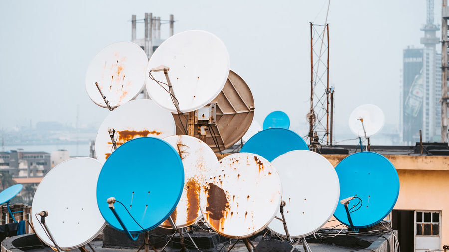 Architecture Building Exterior Built Structure Sky No People Nature Day Outdoors Clear Sky Communication White Color Technology City Satellite Dish Building Water Satellite Sunlight Connection Metal Global Communications Dish