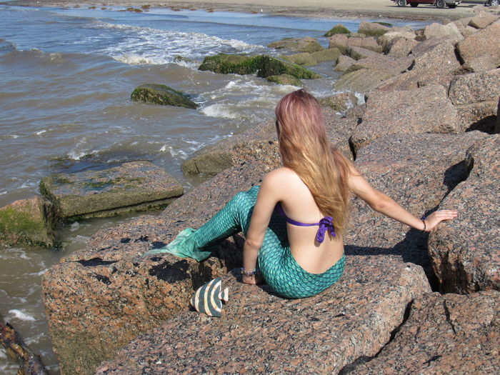 I found a mermaid Beauty In Nature Casual Clothing Day Leisure Activity Lifestyles Mermaid Nature Outdoors Rippled Rock Rock - Object Shore Tranquil Scene Tranquility Vacations Water