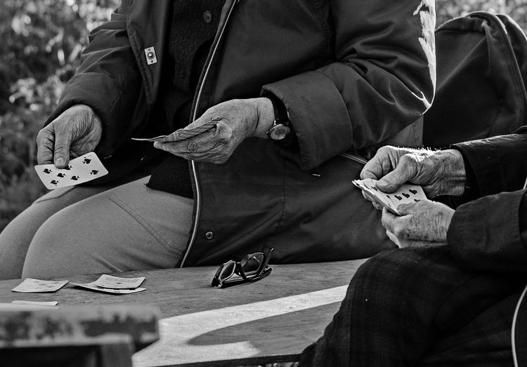 Real People Two People Black And White Old Age Game