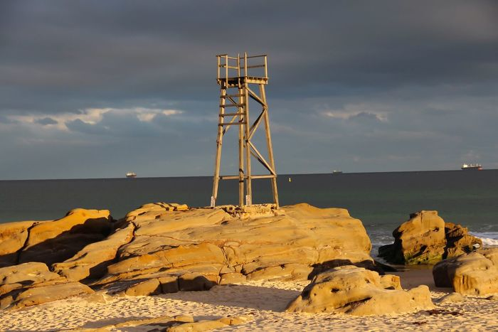 Sunset at Redhead Sea Water Built Structure Lighthouse Architecture Rock - Object Horizon Over Water