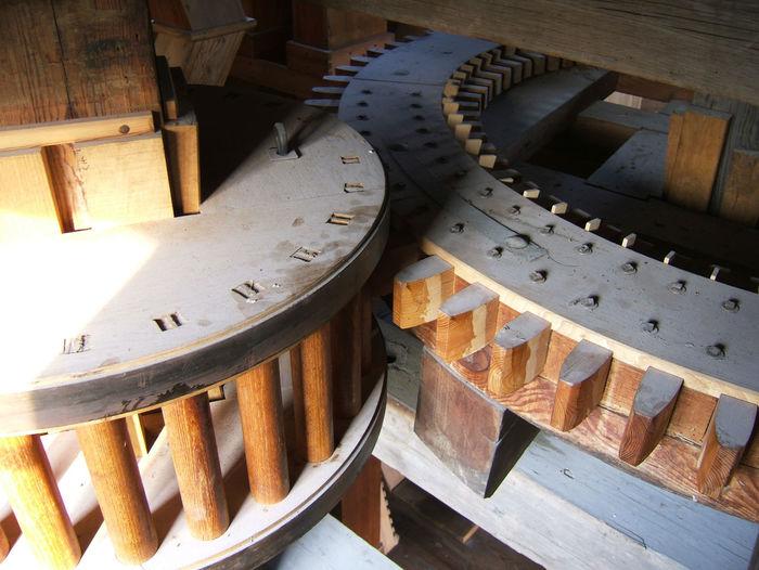 Antrieb Hol Gear Getriebe Einer Holländerwindmühle Holzgetriebe Korbrad Stirnrad Windmill Windmühle Wooden Gears Zahnradbahn Getriebe Ineinandergreifen Mühlenbau Wind