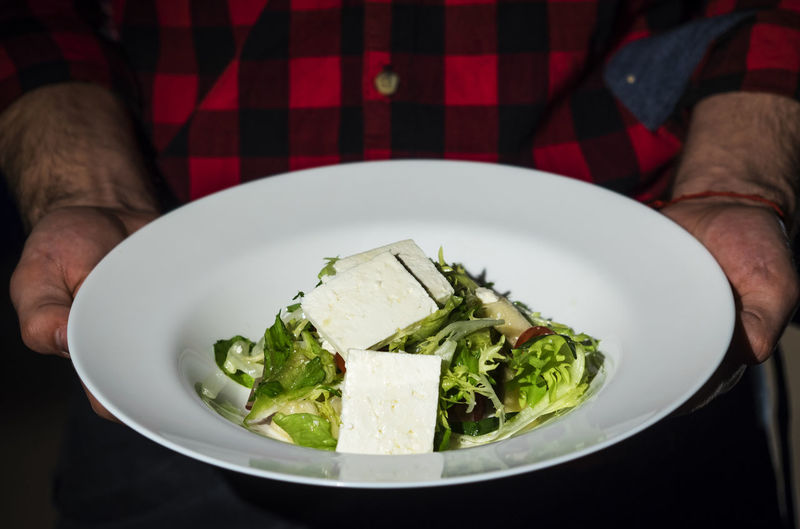 Midsection of man holding tofu salad in plate