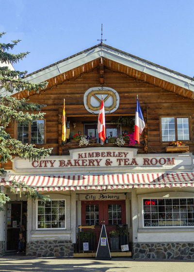 BC, Canada Kimberley, B.C Architecture Building Building Exterior Built Structure Clear Sky Communication Day Entrance Façade Flag Kimberleybc Nature No People Outdoors Red Sign Sky Text Western Script Window