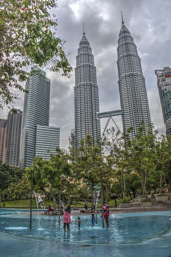 Clouds Dramatic Sky HDR Collection Hdr Photography Holiday K Lumpur KL Twin Towers Klcc KLCC Twin Towers Kuala Lumpur Malaysia Petronas Twin Towers Reflection Tourist Attraction  Water