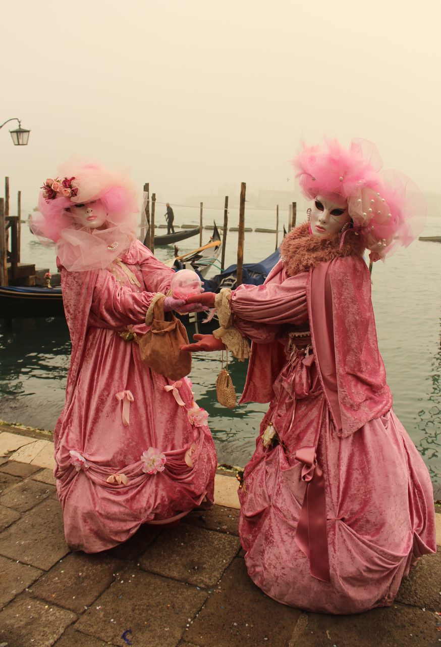 pink color, costume, traditional clothing, real people, outdoors, full length, day, sky