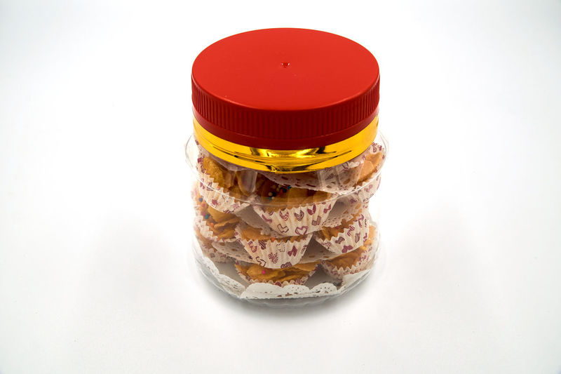 Close-up of cake against white background