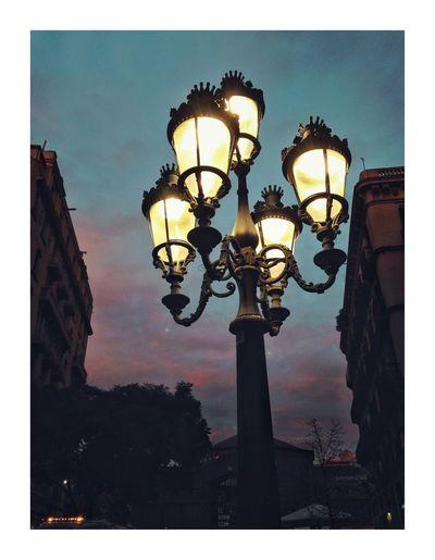 Light fyting Barcelona Lighting Equipment Street Light Illuminated Night Street Lamp Low Angle View Sky No People Outdoors Gas Light Architecture