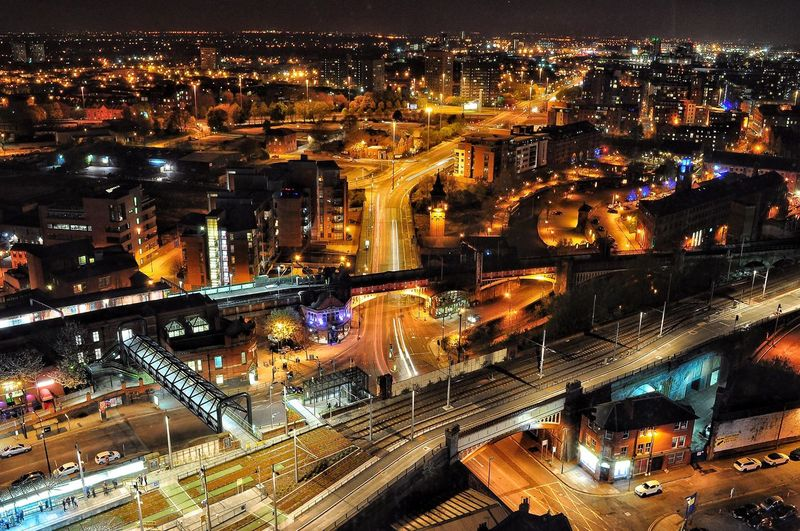 Manchester cityscape at night. Adapted To The City Night Illuminated City Architecture Building Exterior Cityscape Transportation City Life Travel Destinations Outdoors Modern Sky Bridge - Man Made Structure No People Skyscraper Cityscape Night Lights City Lights City Night Lights Cities At Night City View  Getty X EyeEm Night Photography Long Exposure HUAWEI Photo Award: After Dark