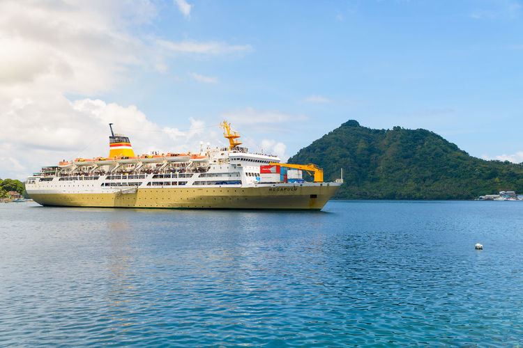 Water Waterfront Transportation Nautical Vessel Mode Of Transportation Sky Sea Nature Ship No People Day Mountain Beauty In Nature Travel Cloud - Sky Scenics - Nature Passenger Craft Ferry Cruise Cruise Ship