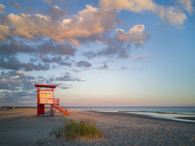 Estonia Beach Built Structure Cloud - Sky Horizon Over Water Lifeguard  Lifeguard Hut Lifequard Nature No People Outdoors Pärnu Safety Sand Sandy Scenics Sea Seaside Shore Sky Sunset Tower Tranquil Scene Tranquility Water