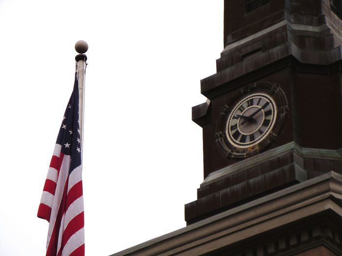 Clock Architecture Time Built Structure Clock Face No People Politics And Government Building Exterior Clock Tower Clocktower Clocktowers Stone Buildings Flag Flags American Flag