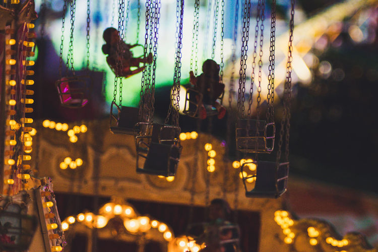 Carousel Christmas Decoration Close-up Defocused Focus On Foreground Hanging Illuminated Indoors  Night No People Selective Focus