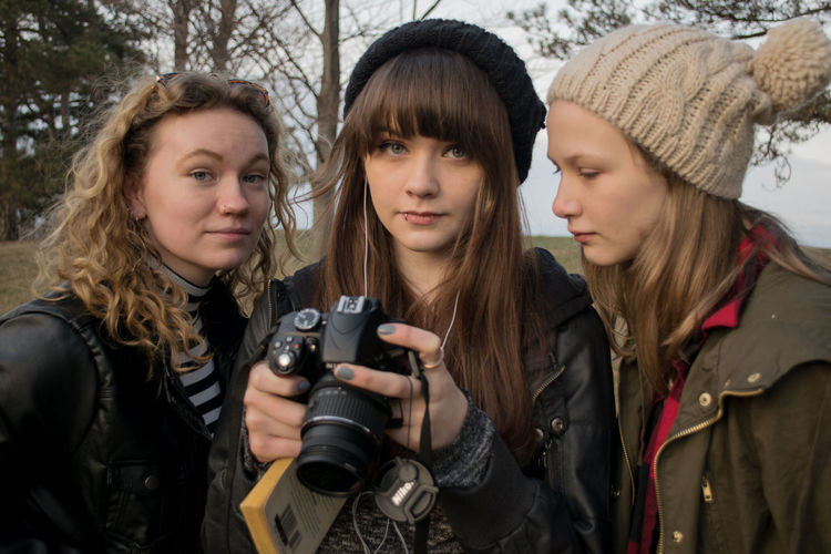 Outdoors Front View People Standing Cold Temperature Headshot Togetherness Day Friendship Winter Only Women Warm Clothing Young Adult Blond Hair Syracuse Ny Teenage Girls Park Scarf Looking At Camera Piercings Sisters Camera DSLR