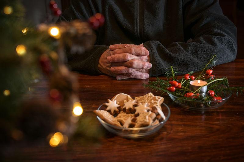 Man preparing food on table