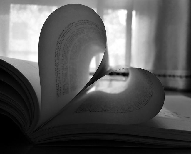 Book pages arranged in heart shape at home