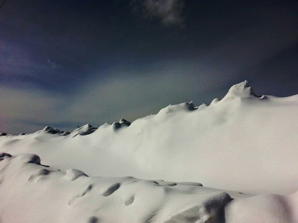 Snow Ice Winter Cold Drifts Wind Nature Sky Clouds