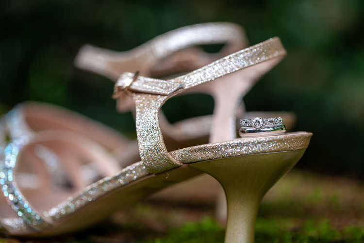 Focus On Foreground Close-up Selective Focus Diamond - Gemstone Wedding Ring Wedding Wedding Photography Macro Macro Photography Metal No People Day Grass Plant Nature Outdoors Silver Colored Still Life Celebration Field Shiny Single Object Absence Land Luxury