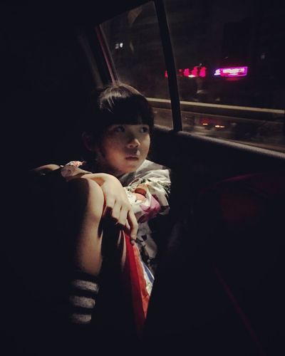 Vehicle Interior Transportation Car Interior One Person Real People Young Adult Land Vehicle Night Car Lifestyles Young Women Mode Of Transport Leisure Activity Public Transportation Sitting Vehicle Seat Indoors  Beautiful Woman Illuminated People Girl
