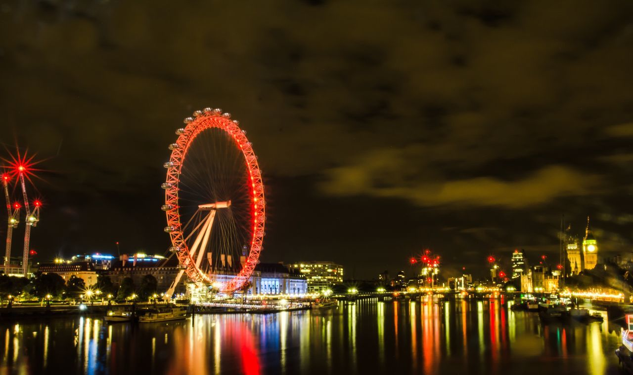 night, ferris wheel, arts culture and entertainment, illuminated, amusement park, big wheel, river, water, built structure, amusement park ride, reflection, waterfront, sky, no people, architecture, outdoors, building exterior