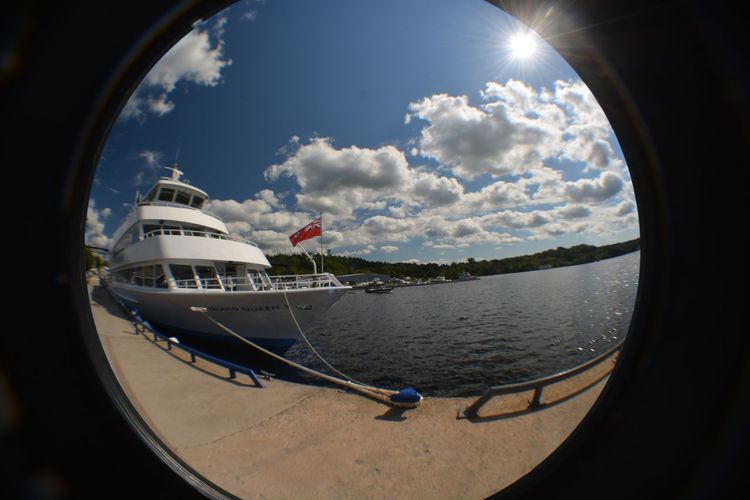 Day Fish-eye Lens No People Outdoors Parrysound Port Ship Sky Water