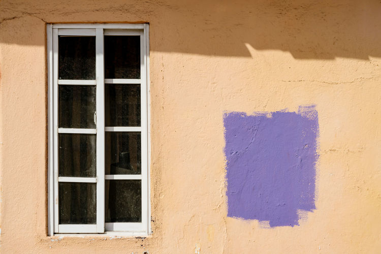 Wall White Frame White Window Brightly Lit Colorful No People Outdoors Purple Sannyday Shadow Window Yellow Yellow Wall