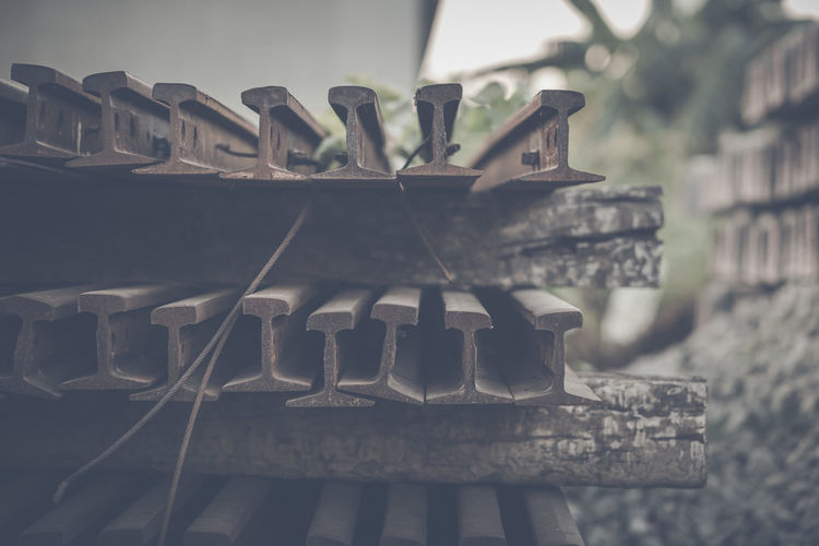 Close-up of old metal structure