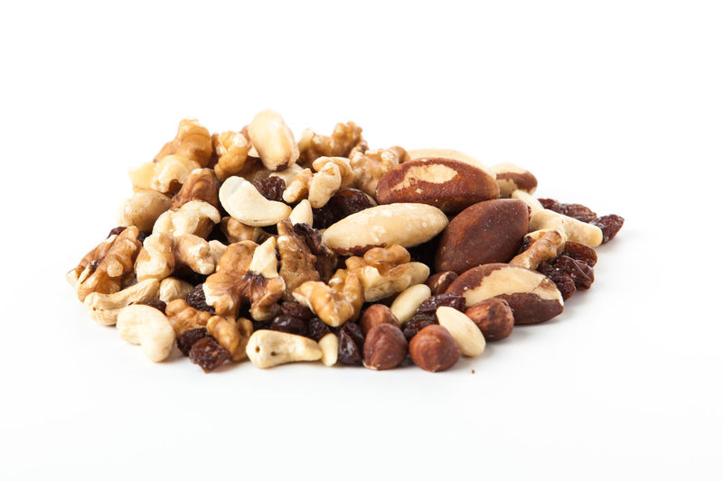 Close-up Cut Out Food Food And Drink Healthy Eating No People Nut - Food Peanut - Food Protein Bar Raisin Studio Shot Walnut White Background
